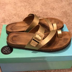 Free People Gold Birkenstock Style Sandal